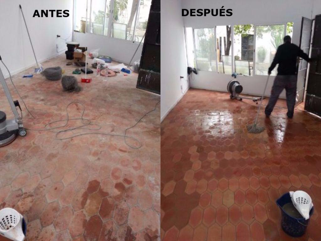 micropulido y abrillantado suelo de barro antes y despues