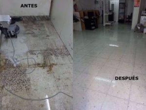 micropulido y abrillantado suelo de marmol antes y despues